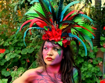 Tropical Queen Feather Headpiece By ShapeShifters - Unique One Of A Kind