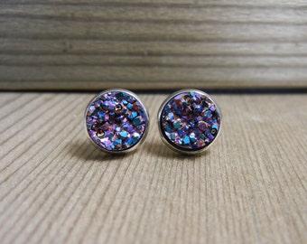 Purple Rainbow Druzy Stone Stud Earrings - faux druzy