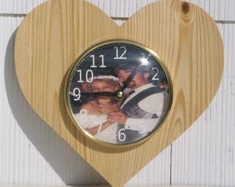 Photo Heart clock, wedding decor, anniversary gift, new baby, favorite pet