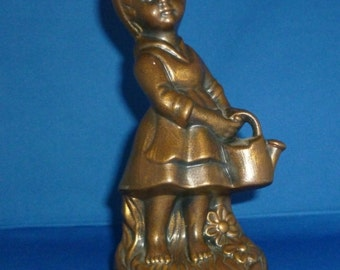 Gare Inc. Bronzed Figurine Girl With Watering Can 1972