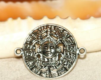 X 1 mask connector inca Aztec silverplate 28 x 36 mm