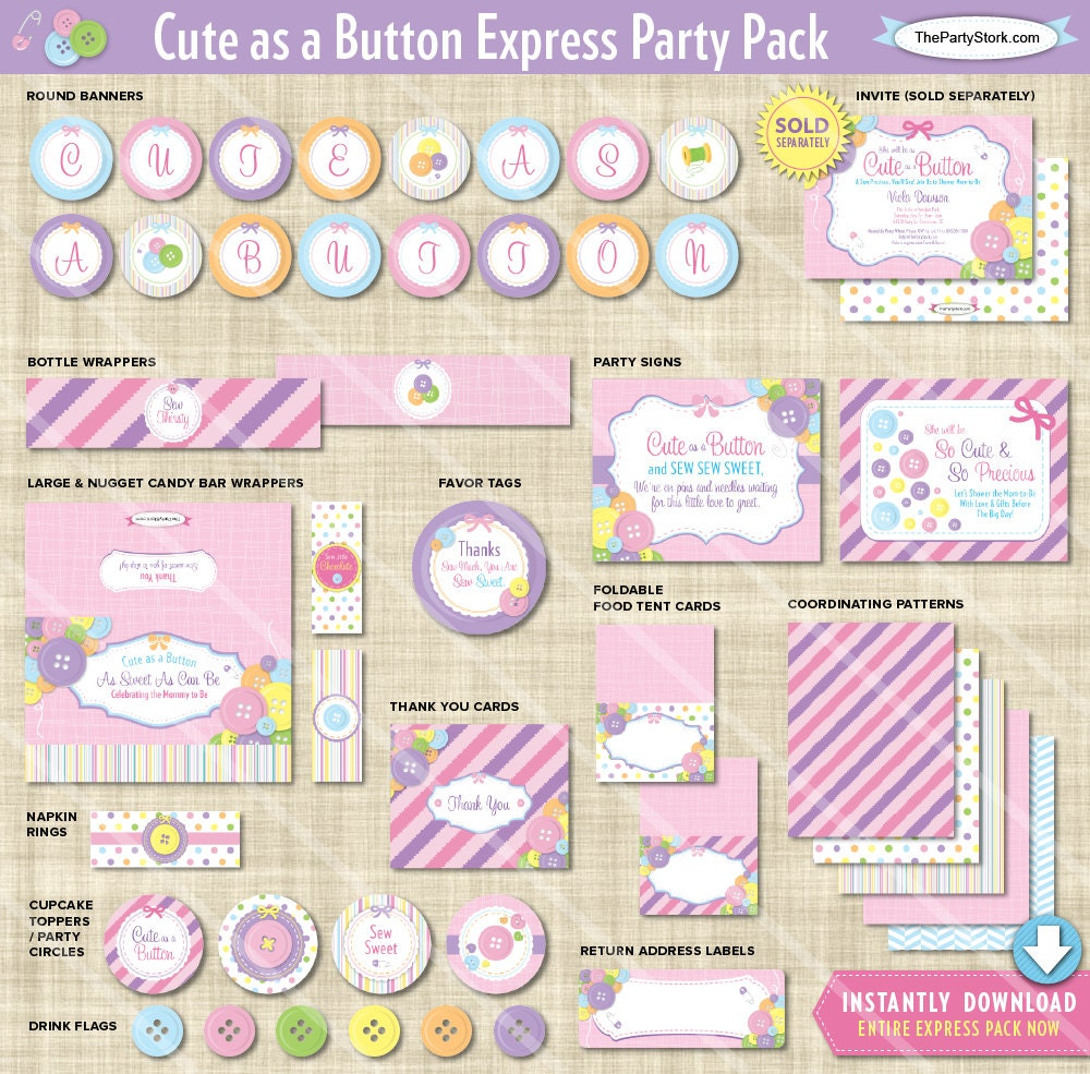 Cute as a Button Baby Shower Decorations Printable Express