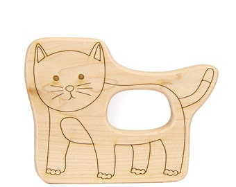 New Baby Gift - Cat Wooden Teether - Classic Wood Toy