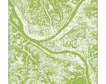 Pittsburgh Cityscape Art Print / Pennsylvania Abstract City Map Wall Art / 8x10 / Choose your Color