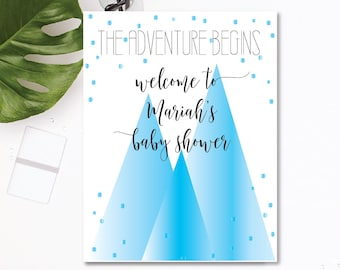Mountain Baby Shower Sign - Blue Ombre - Customizable Text - The Adventure Begins Theme - Printable - 8.5x11 Digital Download