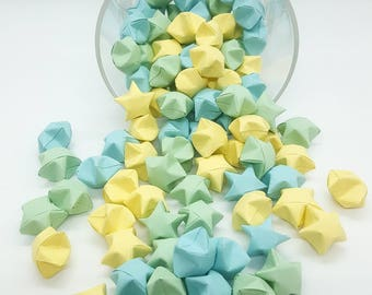 Origami Lucky Stars ~ 102 Count ~ Origami Wishing Stars ~ Pastel Yellow, Green, Blue ~ Baby Shower Stars ~ Boy's Party ~ Origami Party Favor
