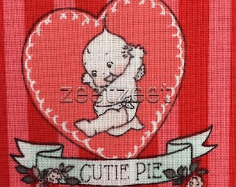 KEWPIE Doll STRIPE Red Printed Cotton Quilt Fabric by the Yard, Half Yard, or Fat Quarter FQ Riley Blake Love Valentine's Day Collection