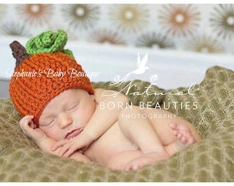"Crochet Baby Pumpkin Hat, Custom Made, Newborn 0-3M 3-6 Month Cap, Orange Beanie ""Mommy's Lil Punk'n"" Photo Photography Prop Shower Gift"