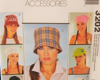 McCall's Fashion Accessories Hat Sewing Pattern #3202 Uncut