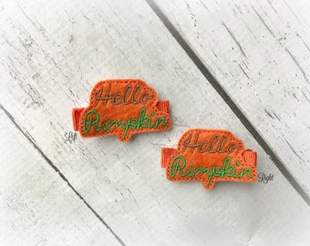 Hello Pumpkin hair clip Pumpkin Hair Clippie Pick one or two. Pick Left side or Right.