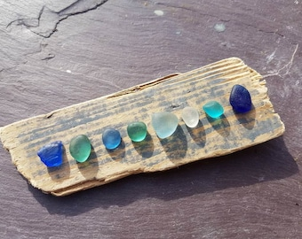 SEAHAM BLUES DRIFTWOOD ~ Rare ~ Wall Hanging ~ Sea Glass ~ Beach Glass ~ Blue Glass