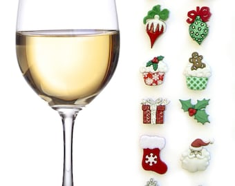 Christmas Wine Glass Charms Magnetic Drink Markers | Set of 12 Wine Tags | Unique Wine Gift | Holiday Hostess Gift by Simply Charmed