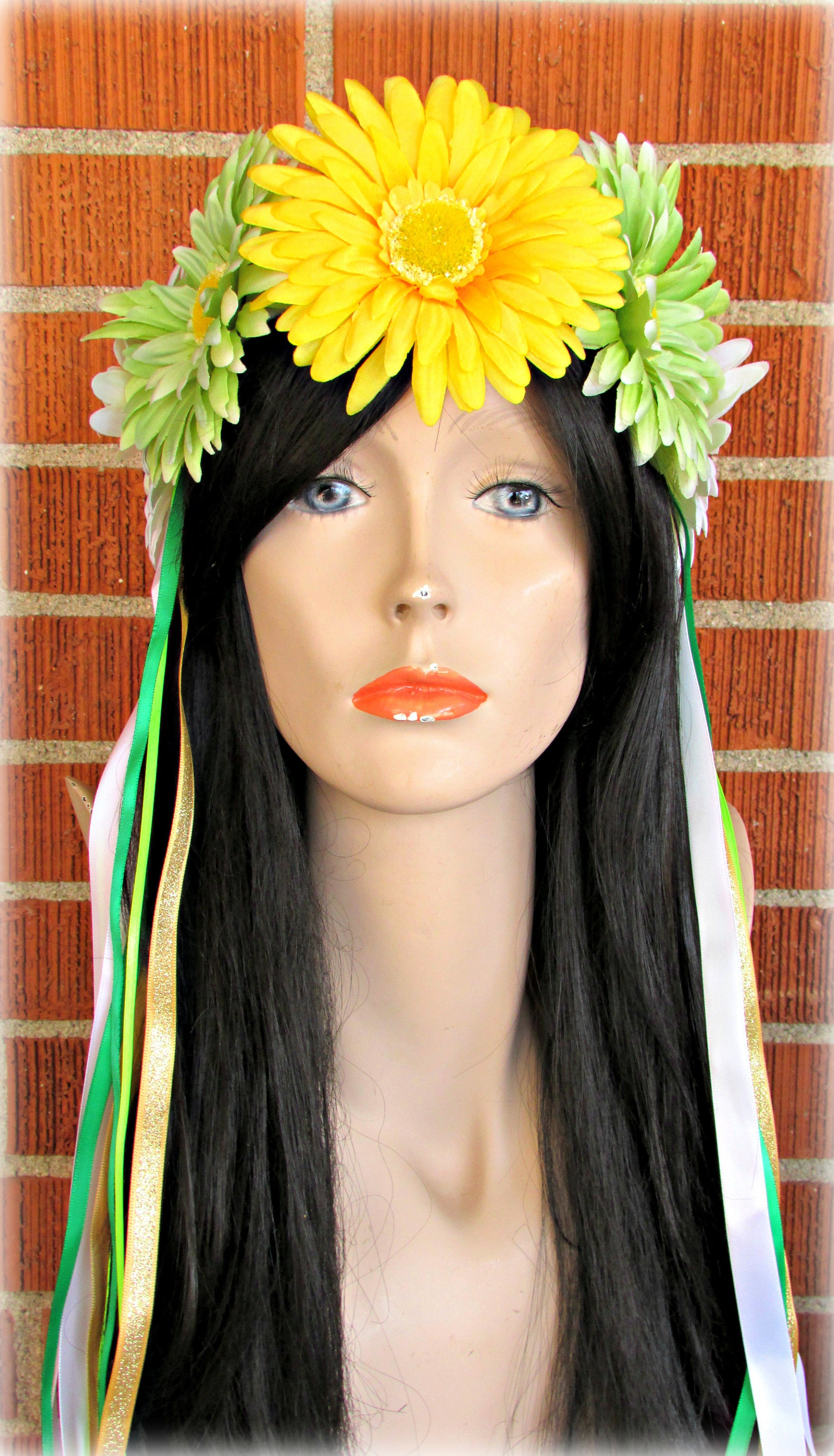 Yellow Green And White Flower Crown Floral Crown Flower
