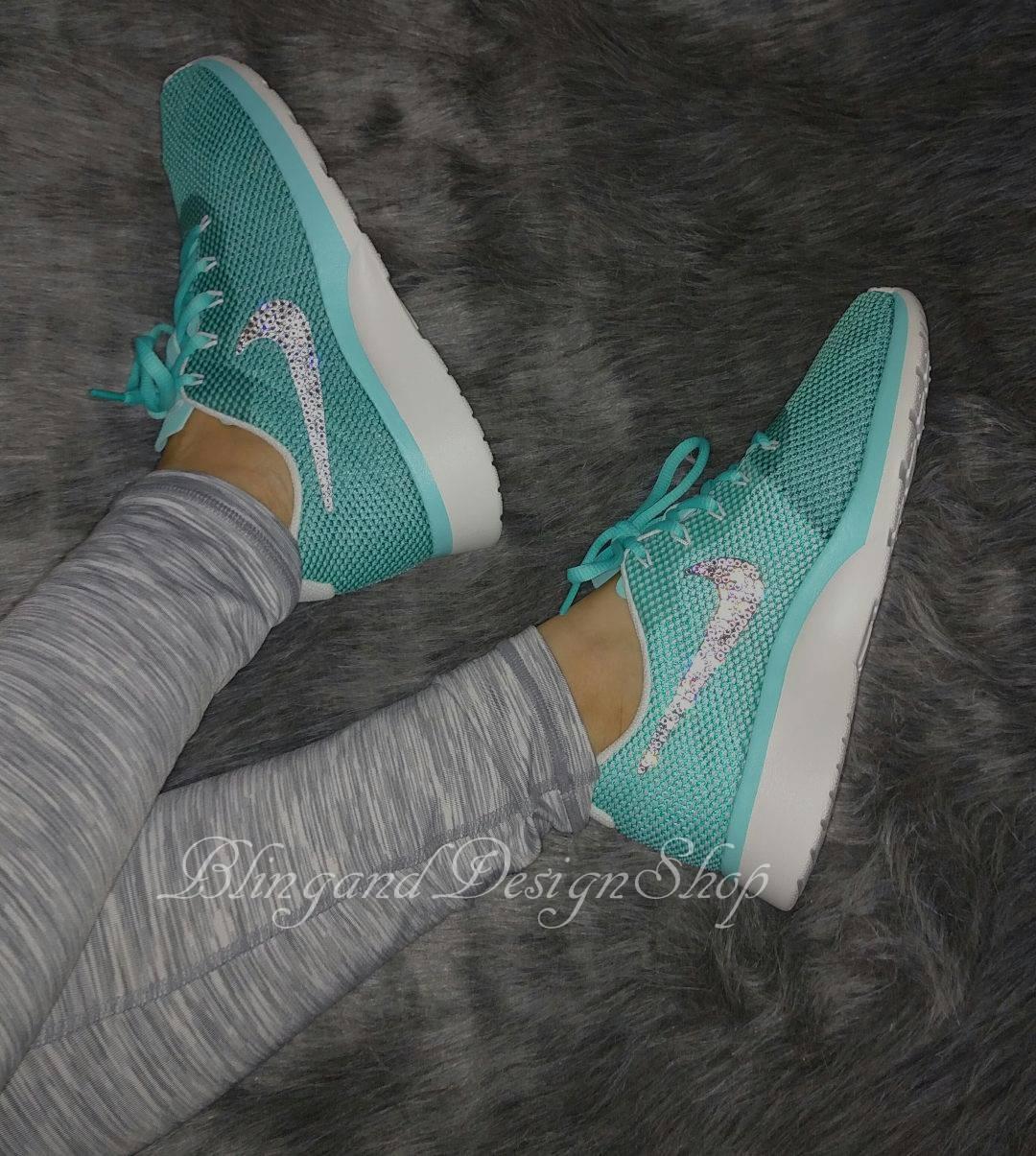 Swarovski Nike Shoes Women's Nike Tanjun Racer Teal shoes Customized with Swarovski  Crystal Rhinestones, Tennis Shoes