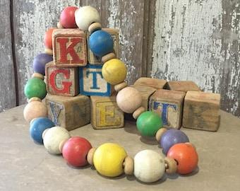 Antique Children's Blocks and Bead Necklace