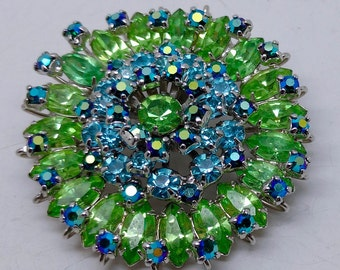 Vintage Hattie Carnegie Green and Blue Rhinestone Brooch