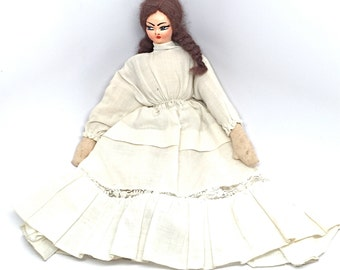 Vintage Doll, Victorian Boudoir Doll, Paper Mache Face, Cloth Body, Rag Doll, Klumpe Style,c1920