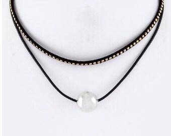Micro studs and pearl layer choker