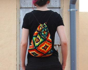Aztec fabric drawstring backpack