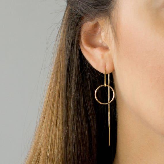 Circle Threader Earrings Long Dangle Earrings Dainty