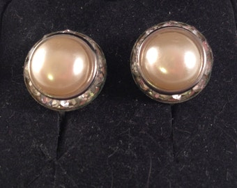 Round Silver Rhinestone and Faux Pearl Screw on Earrings Diameter of 5/8 Inches Previously 17 Dollars ON SALE