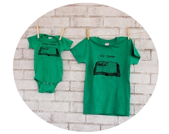 Story Book Sibling Shirt Set, Big Sister, Little Sister, Kelly Green Cotton Crewneck Youth Tshirt, Baby Onepiece, One Piece Bodysuit Shirt