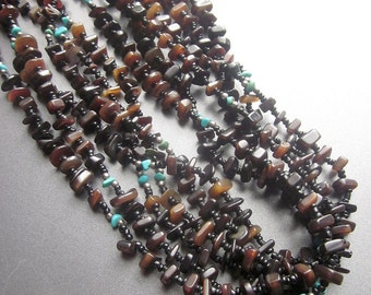 Native American Amber Turquoise Nugget  Multi Strand Beaded Natural Turquoise Southwest Pueblo Jewelry