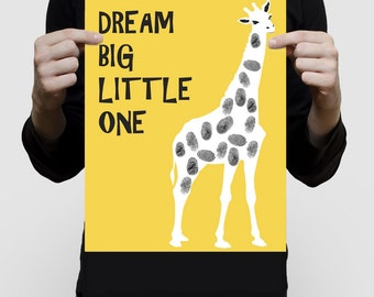 giraffe fingerprint guest book for baby shower or kids birthday print - zoo animal safari themed nursery art yellow saying dream big poster