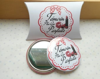 "Large mirror 58 mm + ""perfect witness"" white, red gift box"