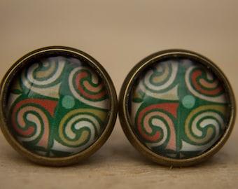 Green Earrings, Medieval Earrings, Glass Dome Earrings, Post Earrings, Small Studs, Green Studs, Medieval Studs