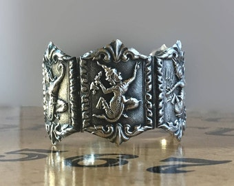 Large Six-Panel Sterling Silver Vintage Bracelet from Thailand - Siam Silver
