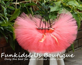 Baby Coral Tutu- Full and fluffy Sweet Newborn Coral Tutu, Birtday,photoprop, 0,6,,9,12,18,2T-5T