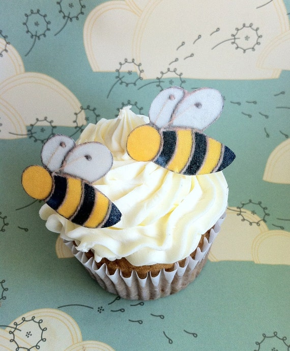 The Original EDIBLE BEE- 20 small - Cake & Cupcake toppers - Food Decorations
