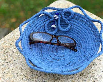 Blue on Blue Rope coiled basket