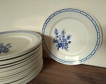Fench vintage set 4 flat dinner plates Badonviller art déco