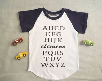 ABC Elemeno, A-Z t-shirt for toddler, children, 2T and 4T boys. Funny, cute, trendy top navy raglan t-shirt.alphabet tee