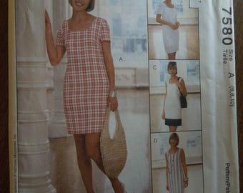 McCalls 7580, sizes 6-10, misses, petite, dress, UNCUT sewing pattern, craft supplies