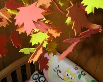 Handmade Mobile Colorful Fall Autumn Leaves Room Decor Baby Nursery Teen Dorm Room Special Occasion Hanging Mobil Art