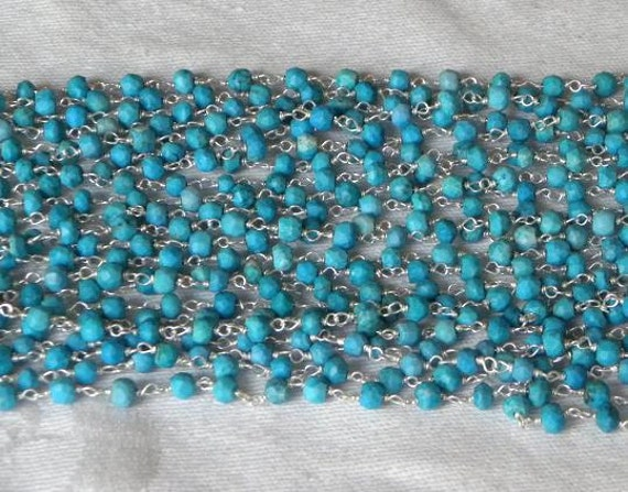 Blue turquoise rosary chain by the foot sterling silver for Craft chain by the foot