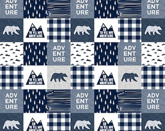 Adventure Baby Quilt, Boy Crib Bedding, Bear Mountain Plaid Patchwork Quilt, Nursery Minky Blanket, Woodland Baby Quilt, Navy Grey Gray