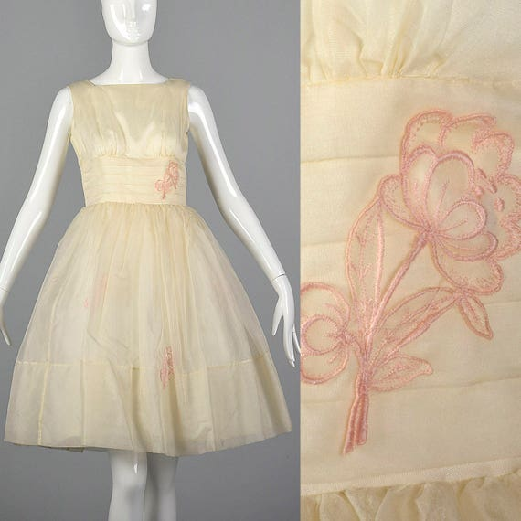 Organza Wedding 1950s Pink Sleeveless Outfit Small Wedding Bridal Vintage Skirt Dress Short Party Dress 50s Floral Applique Full qwgndE5