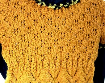 Honey-colored structured patterned sweater