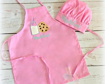 Kids apron - Cookie's and milk apron for girls - apron and chef hat set for girls - personalized pink apron with cookie's and milk - baker