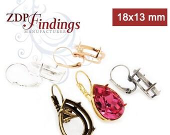 2pcs x 18x13mm Pear Shape Bezel Lever back Earrings Setting Suitable for Swarovski 4320 -  Choose your Finish (LBN20V)