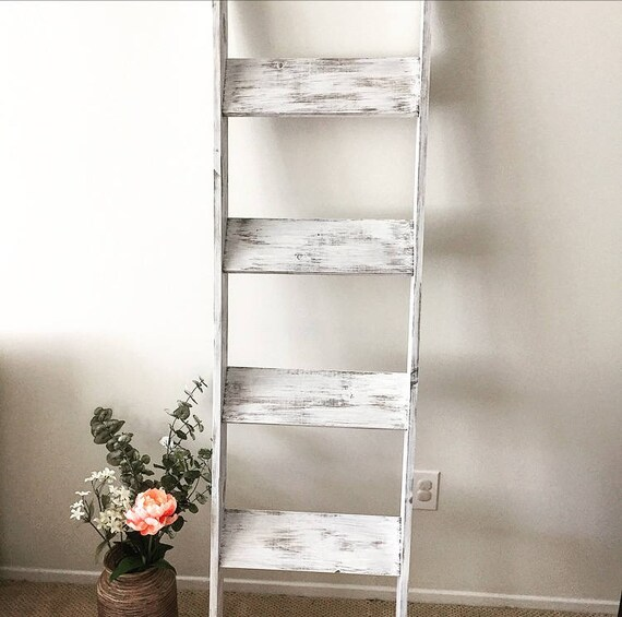 NEW SIZES White Distressed Wood Blanket Ladder Towel Hanger