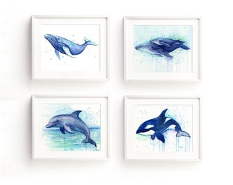 Nursery Wall Art Decor Sea Creatures Nursery Art Prints Animal Watercolor Painting Set of 4 Prints, Ocean Art Humpback Whale Dolphin Orca