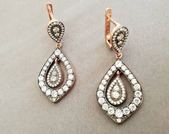 Rose gold drop and dangle teardrop earrings, large zircons, 925 sterling silver