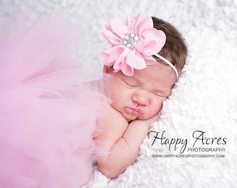 PINK PRINCESS....newborn tutu, baby tutu with vintage headband, newborn photography prop.....plum tutu, purple tutu
