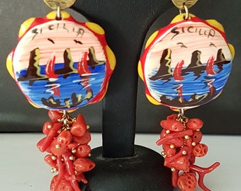 925 silver plated rose gold earrings with Caltagirone ceramics and natural Italian coral cluster