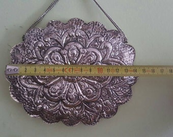 Traditional wall hanging mirror .Silver plated